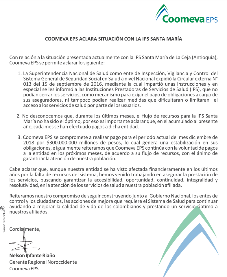 Lo que dice Coomeva sobre el cese de actividades en IPS de La Ceja