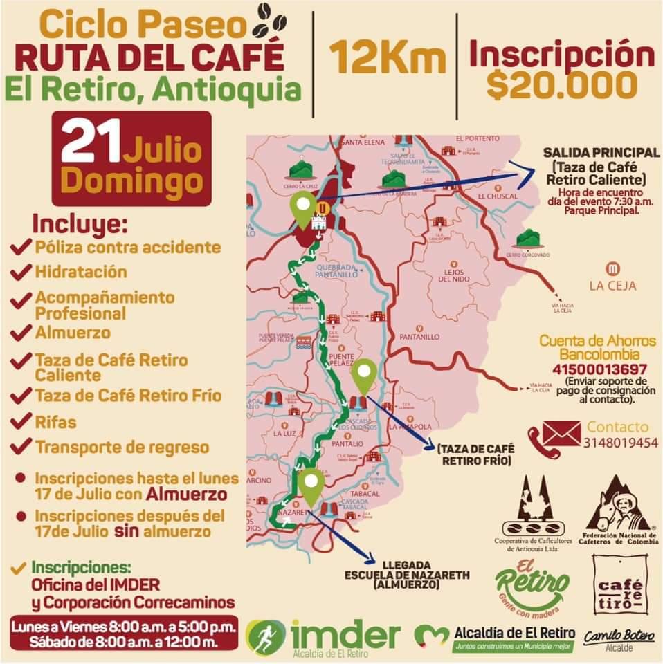 Ciclopaseo Ruta del Café, un evento deportivo para las familias guarceñas