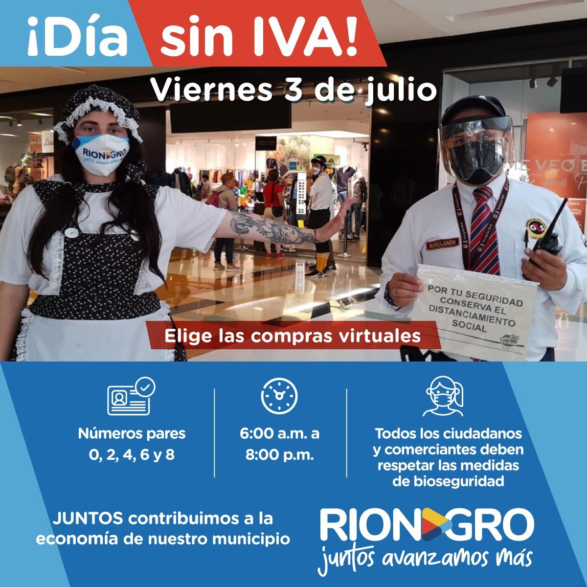 Así quedó el horario para el Día sin IVA en Rionegro