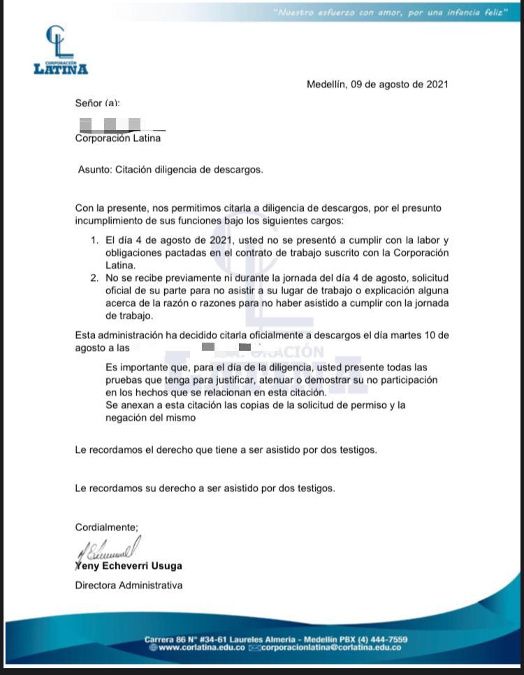 CARTA DE DESCARGOS AGENTES EDUCATIVAS