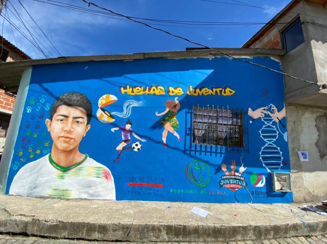Jóvenes de La Unión pintaron el rostro de Miguel Ángel, menor asesinado por sicarios.