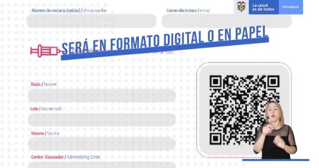 Certificado de vacunación digital.
