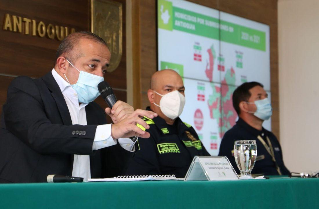 Consejo de seguridad de Antioquia. Nuevamente preocupa el aumento de homicidios.