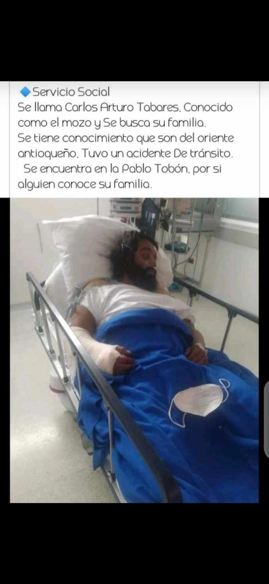 Tras sufrir un accidente, habitante de calle se reencontró con su familia de Rionegro